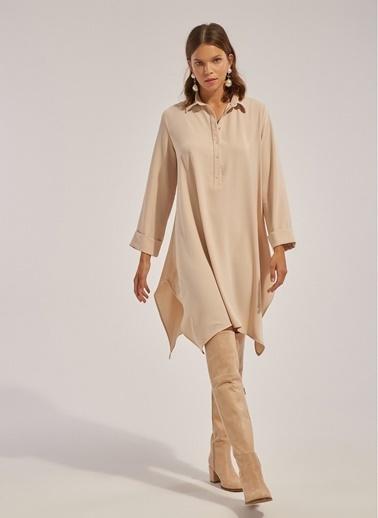 Monamoda Asimetrik Kesim Düğmeli Gömlek Elbise Taş